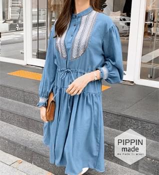 Ethnic Puff Shirring Long Dress #37698