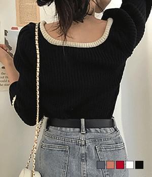 Emotional color matching ribbed U-neck knit