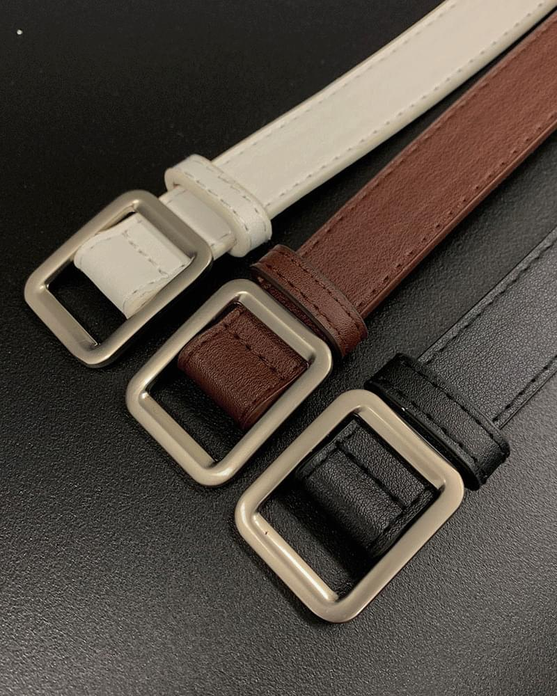 Basic square silver frame belt