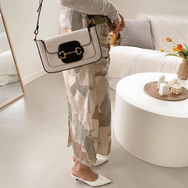Modern Square Two-tone Shoulder Bag 3color