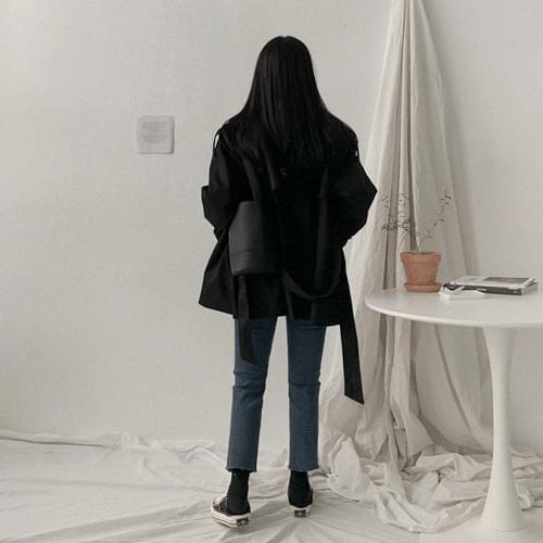 韓國空運 - 經典雙排釦微短版風衣外套(附綁帶) 大衣外套
