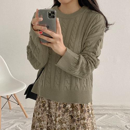 麻花紋微短版針織上衣