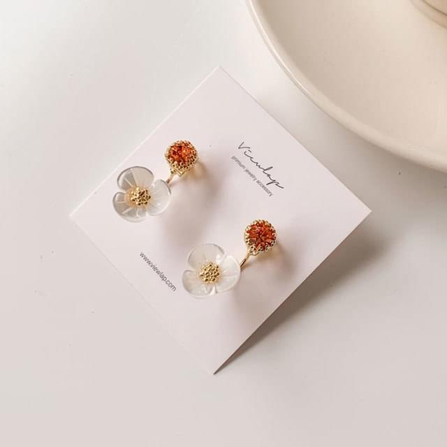 Coral Two Way Flower Silver Needle Drop Earrings