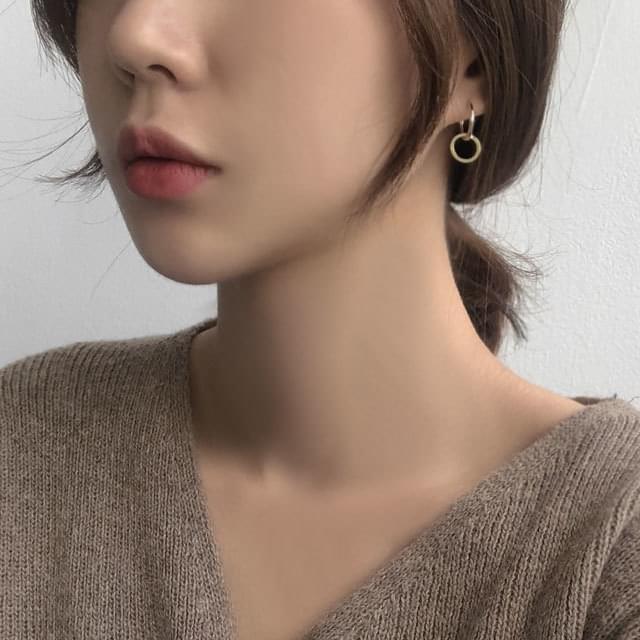 韓國空運 - Dhow Eightring silver925 ring drop earrings 耳環