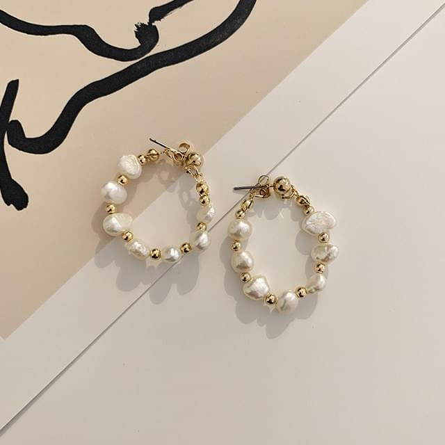 Natural Pearl Two-way Ring Drop Earring