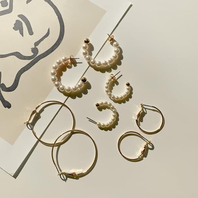 Lynne Pearl Simple Ring Earring Set