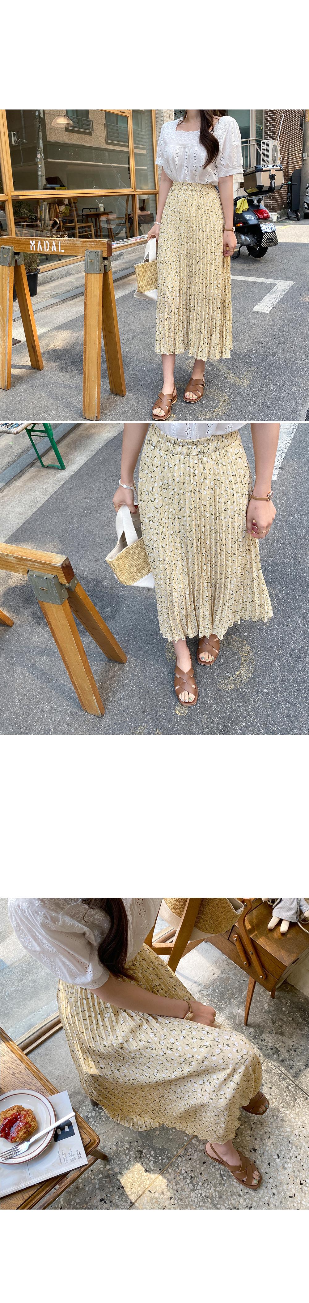 Haneul silhouette pleated flower skirt