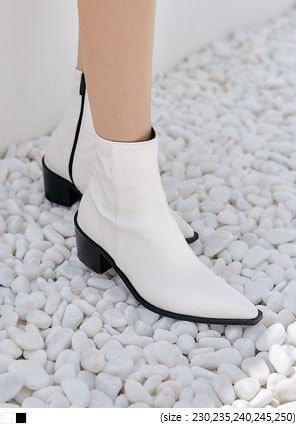 韓國空運 - 尖頭粗跟皮革短靴 靴子