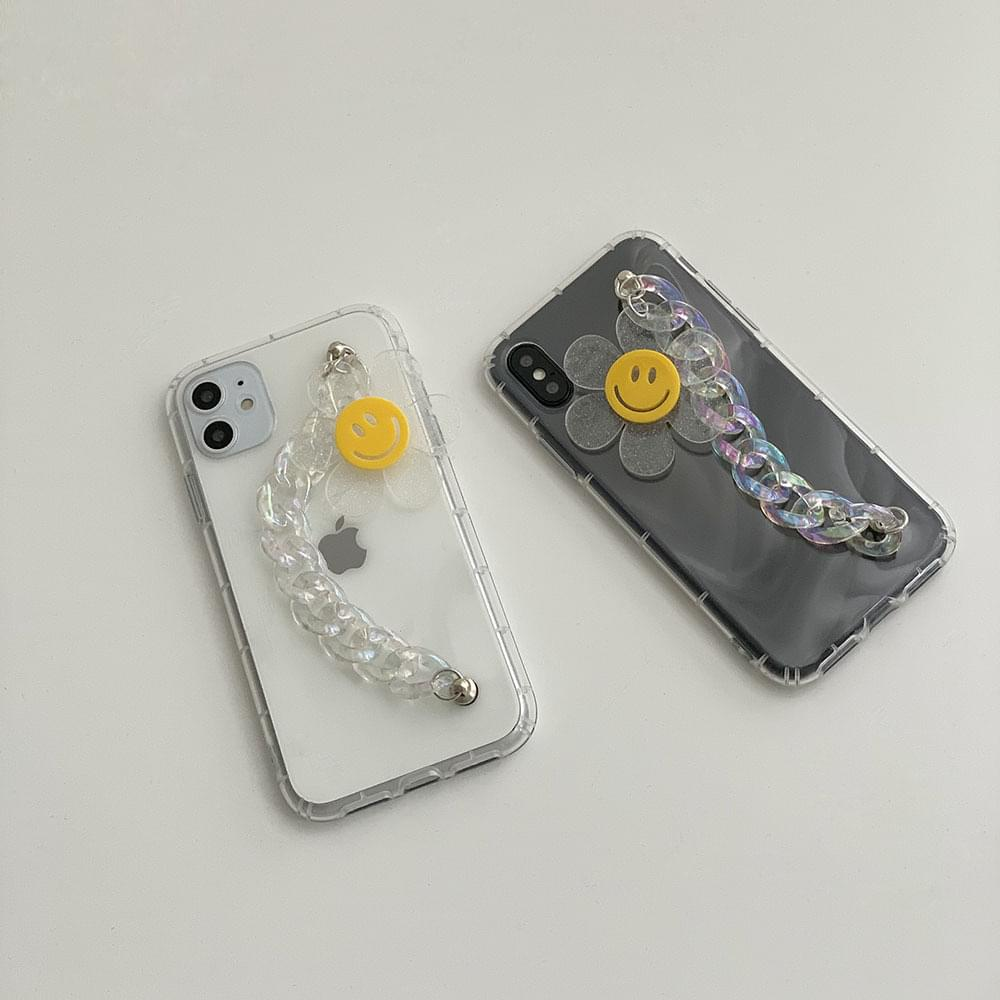 Flower Smile Strap Chain iPhone Case
