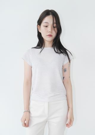 glitter stripe fitted top 半袖