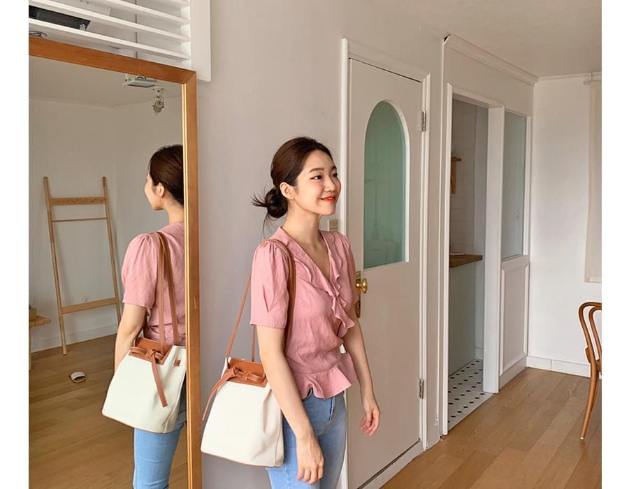 Ribbon wrap frill blouse_K