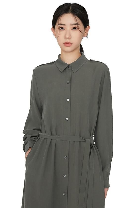 Liner strap shirt maxi dress