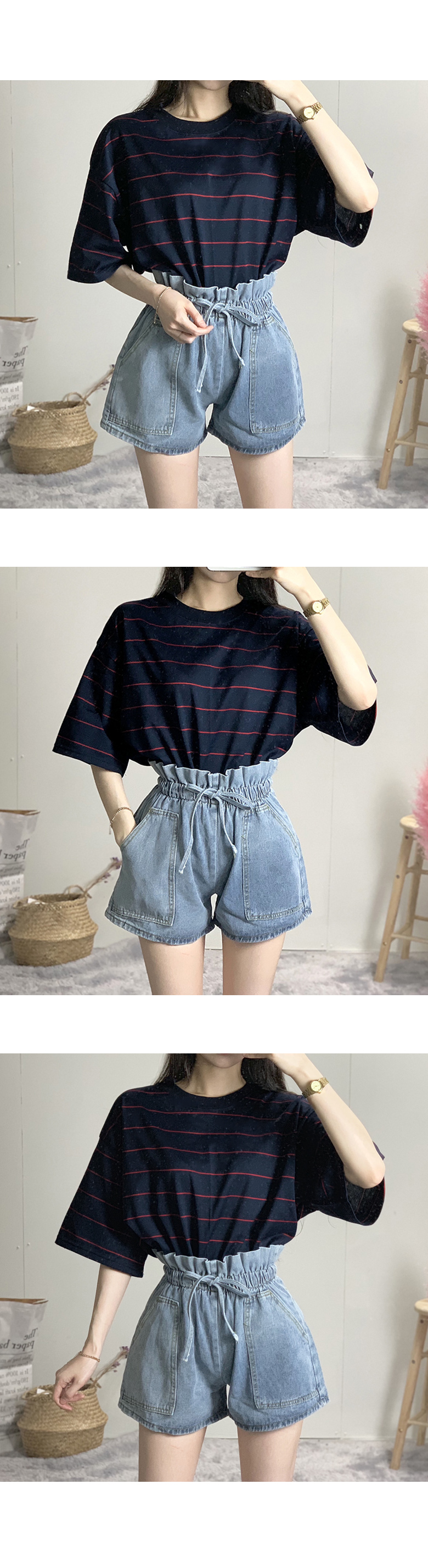 High waist pocket short pants