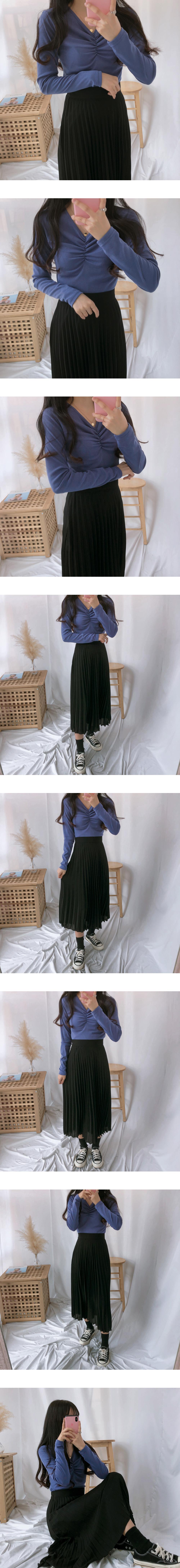 M chiffon pleated long skirt