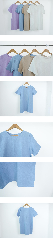 Linen Basic Short Sleeve Dress