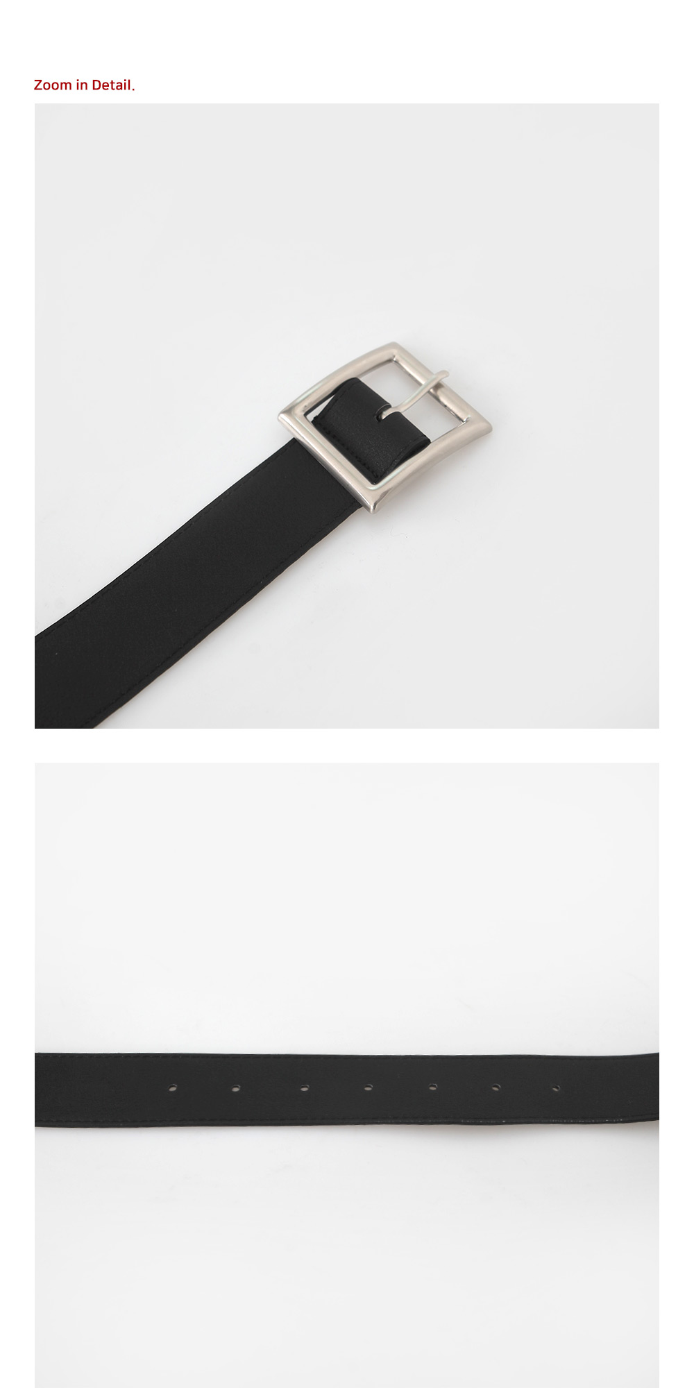 Silver Square Leather Belt