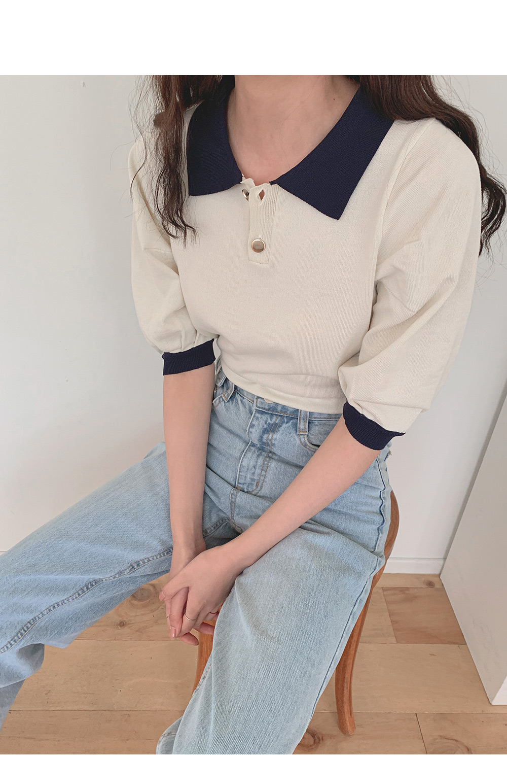 #Any place Kagua color button knit