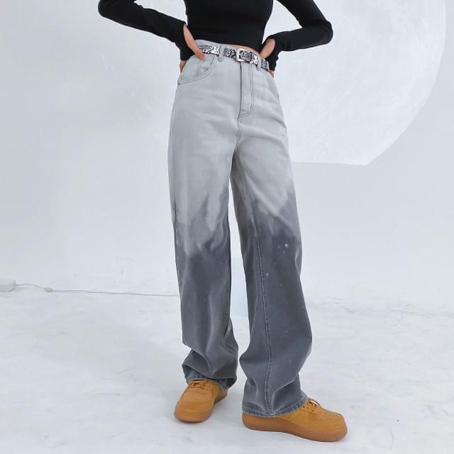 Gradient sheer wide pants