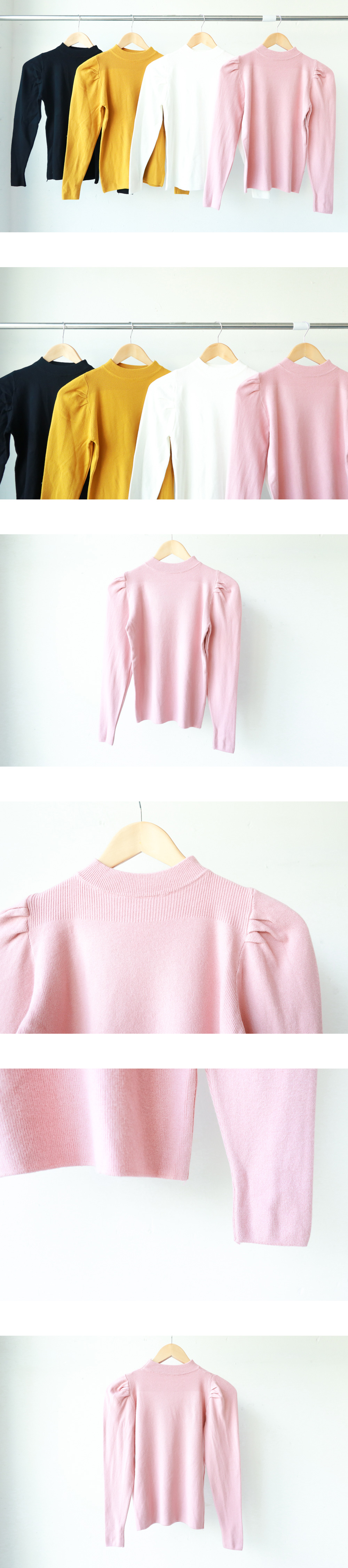 Shoulder shearling knit T-shirt