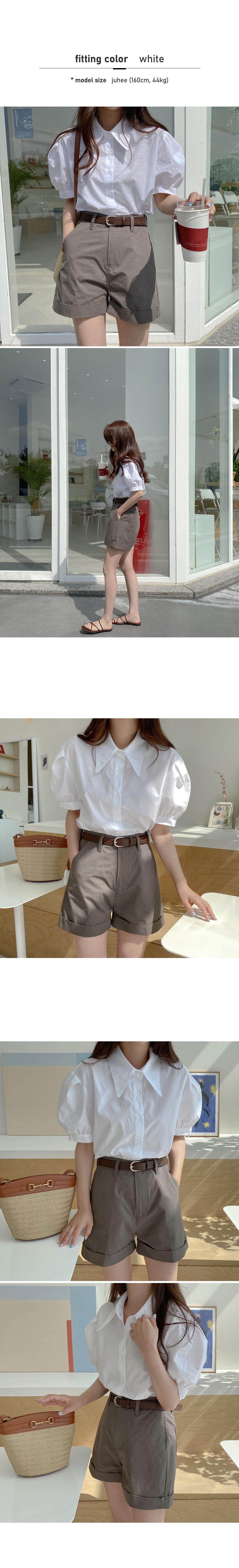 Shea Puff Short Sleeve Shirt-Sky Blue