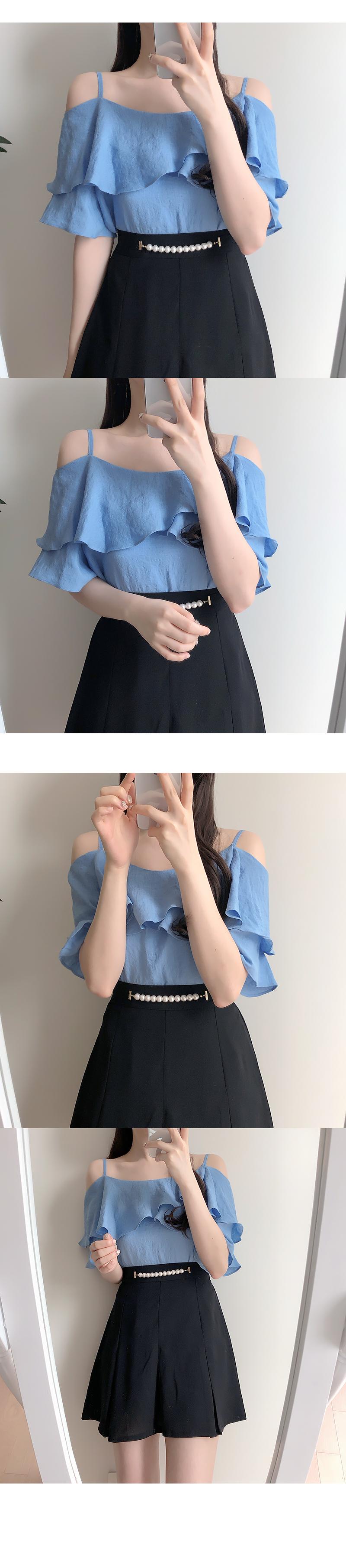 Barbara frill off-shoulder blouse