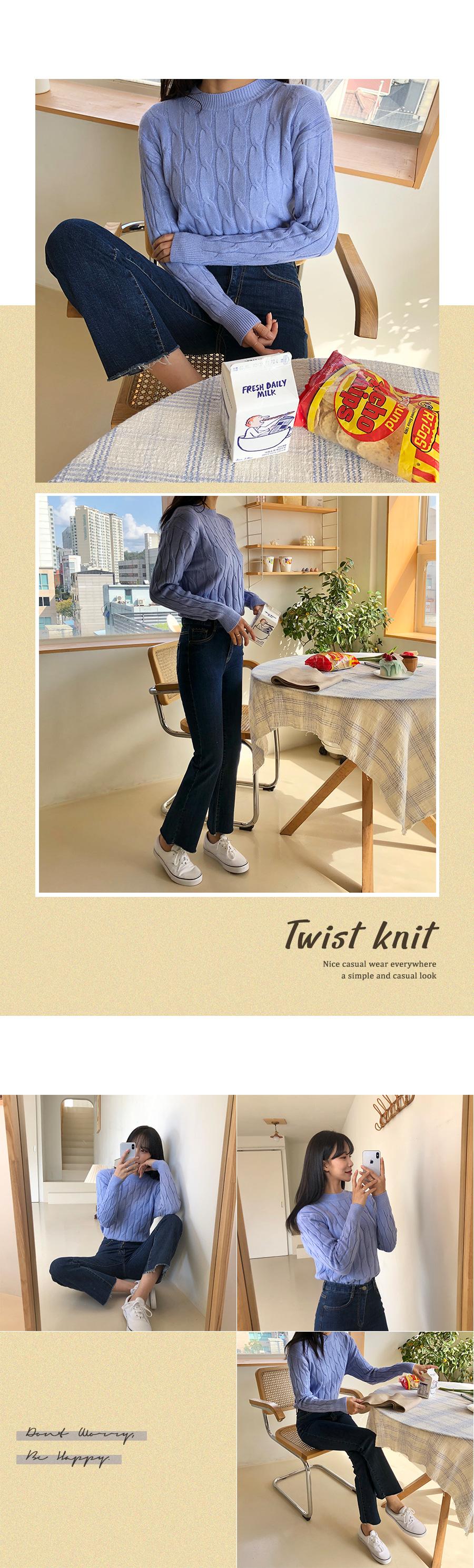 Coil pretzel round knit