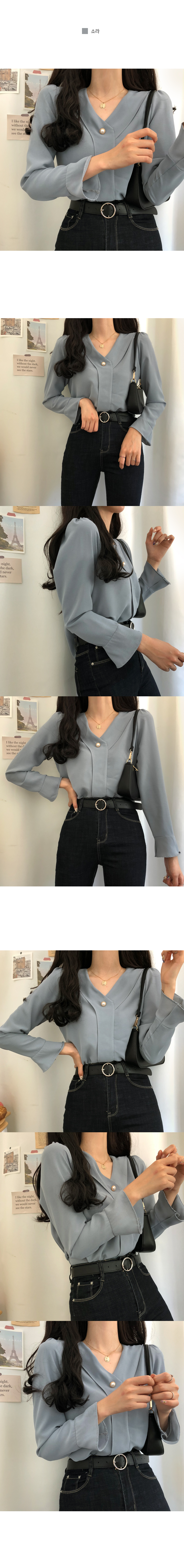Lady trumpet sleeve pearl blouse