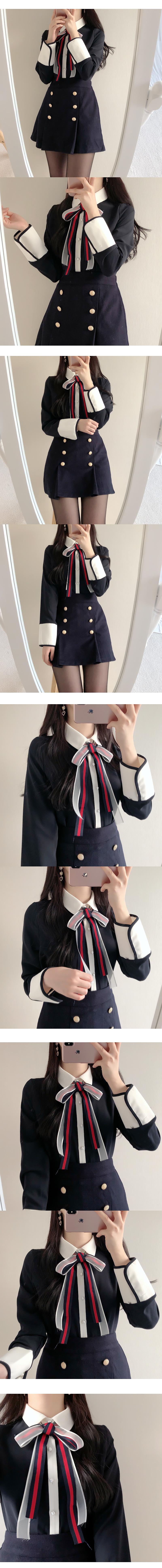 Shasha Color Ribbon Blouse