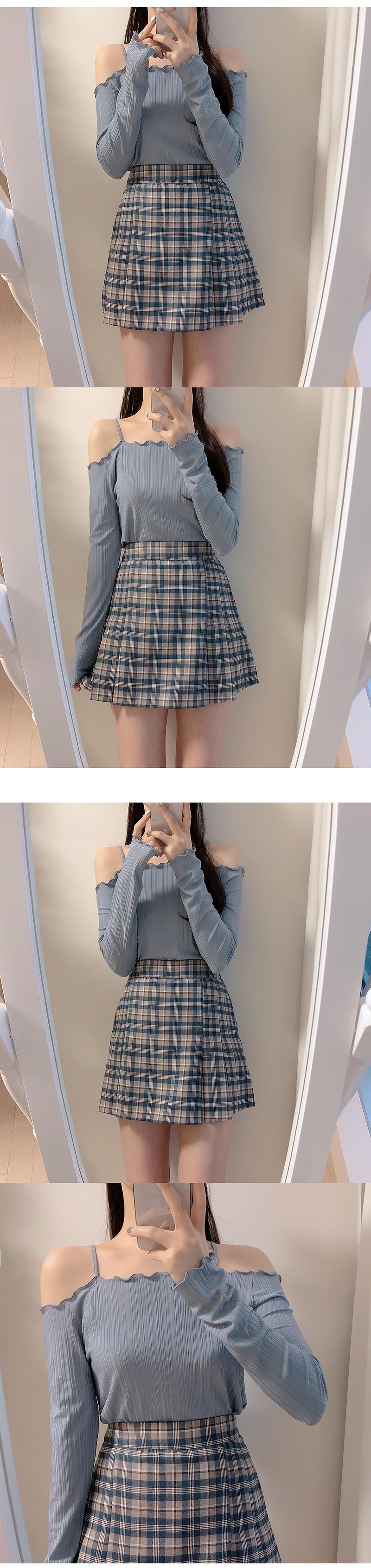 Darby check mini skirt pants
