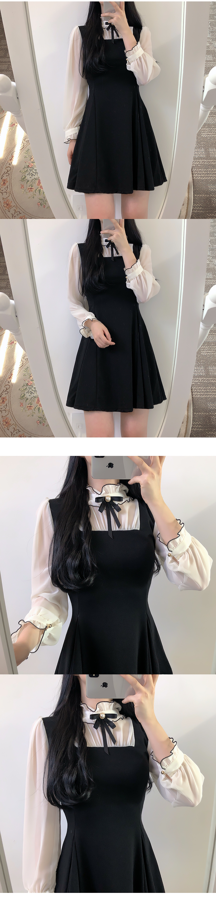재입고♥브로치set듀니 배색원피스(레드,블랙)