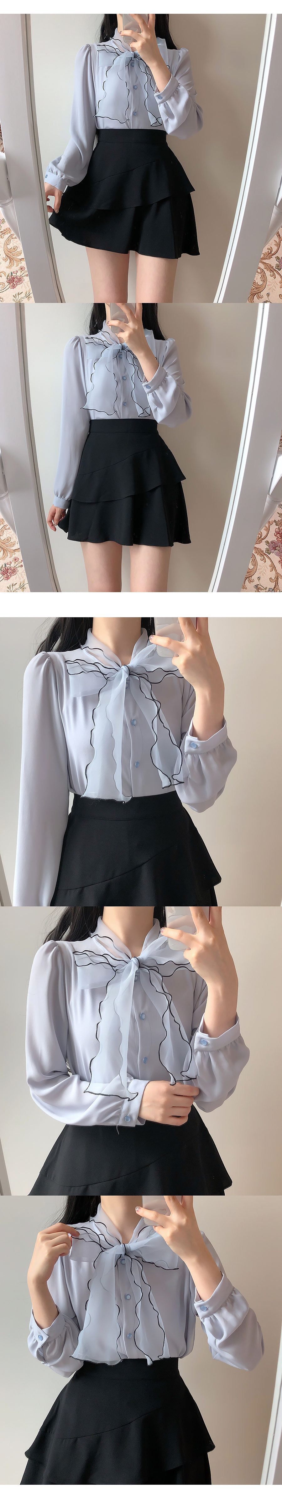 Only color matching ribbon blouse