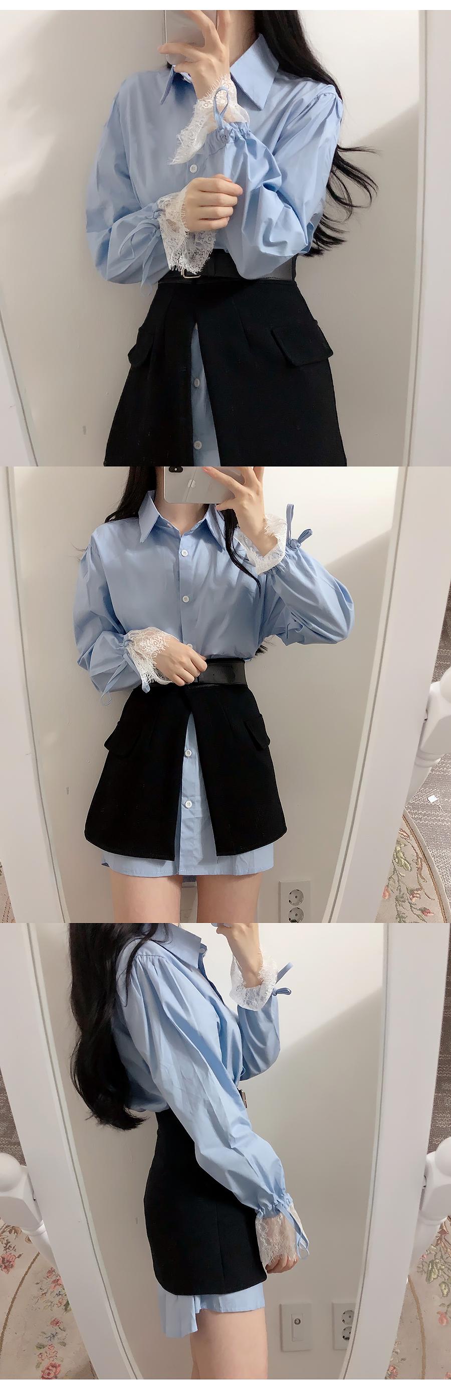 Restock ♥ Balloon Shirt + Buckle Skirt Dress Set
