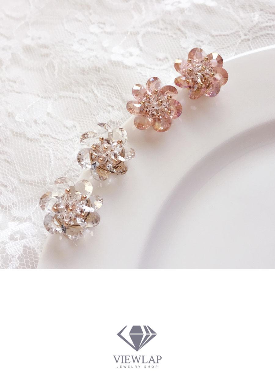 Glass Ball Flower Drop Earrings