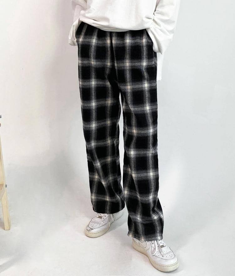 Comfortable check banding pants
