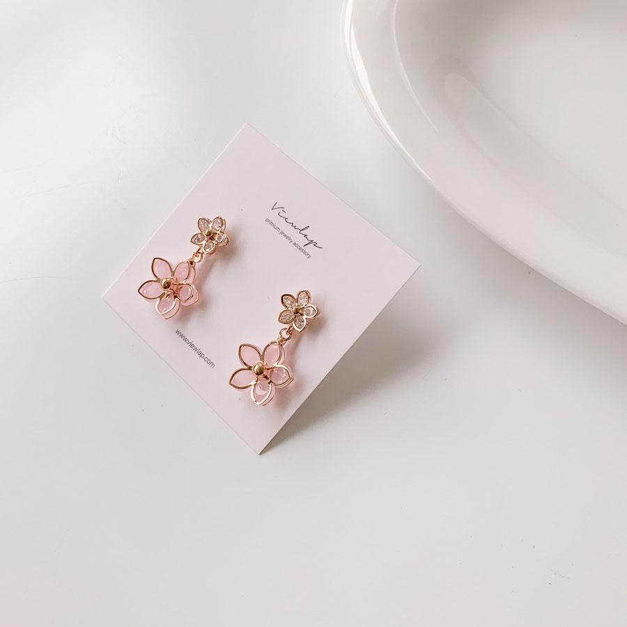 Two Flower Ball Drop Earrings