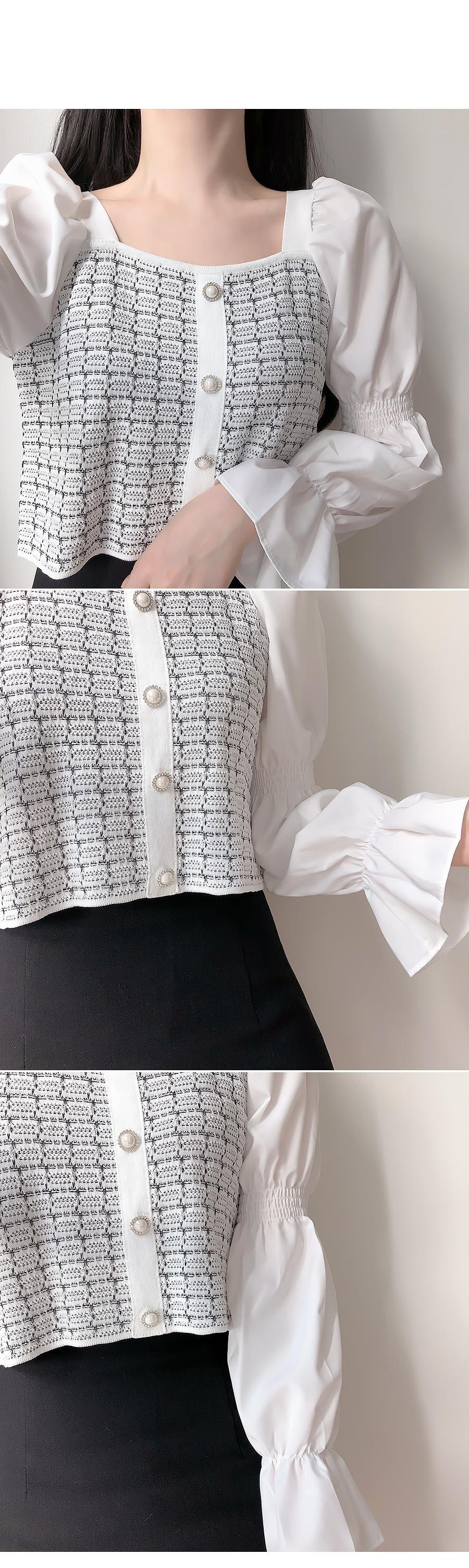 Powder Tweed Jewelry Knit Blouse
