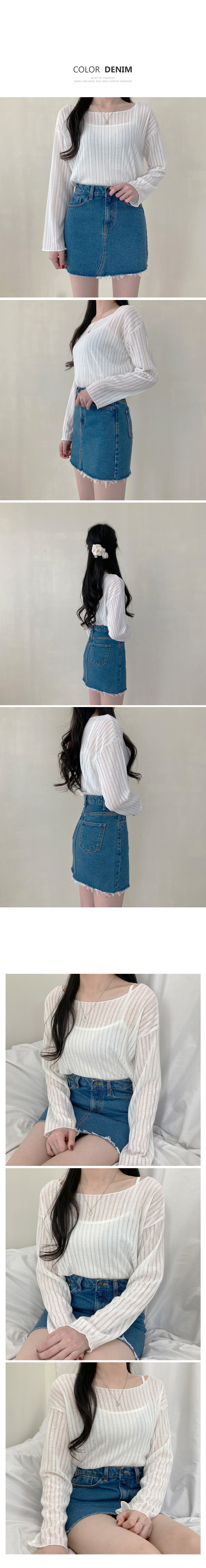 3 color hem cut denim skirt P#YW497
