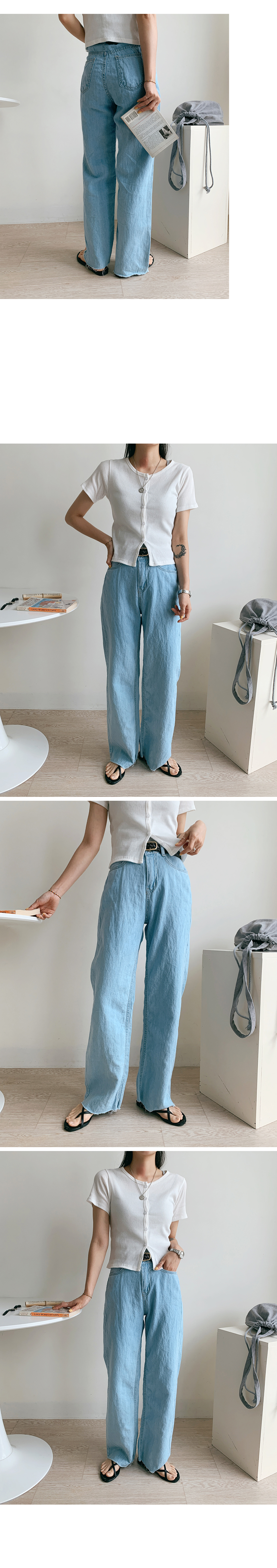 Ment summer cool denim wide pants