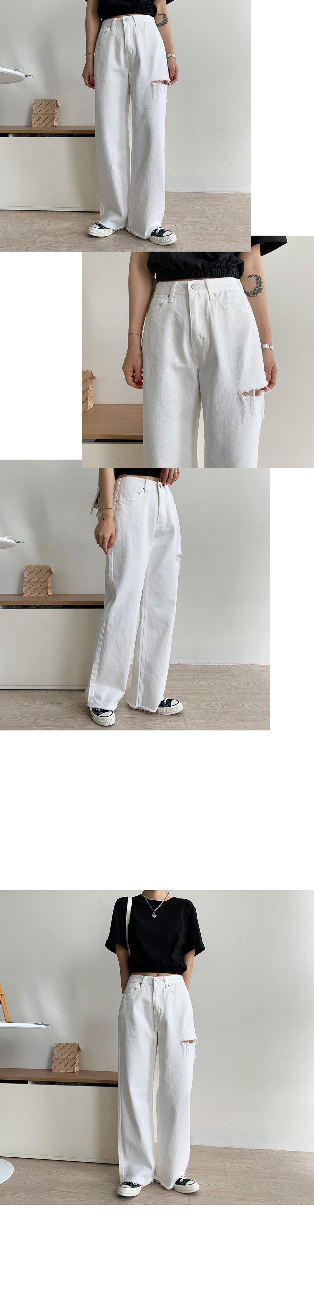 Unique side open wide pants