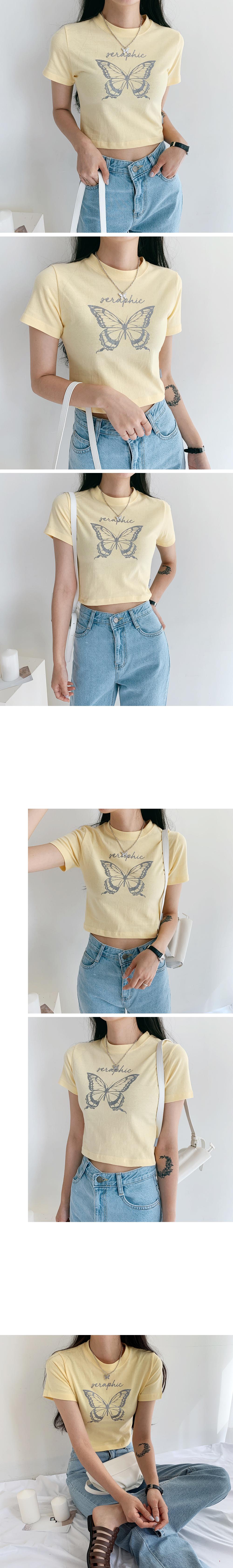 Butterfly Pearl Crop Short Sleeve Tee