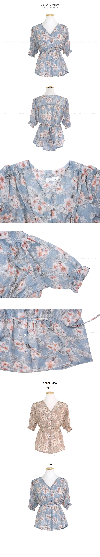 Chiffon Flower Strap Blouuse-2color
