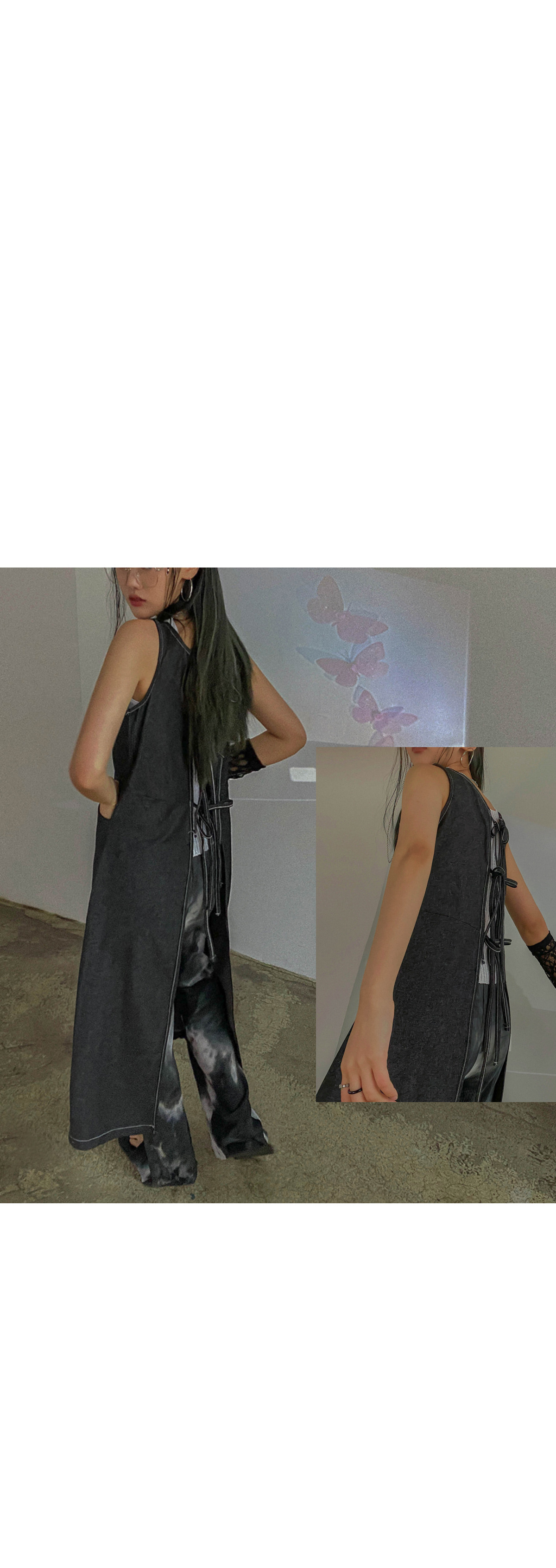 Back Ribbon Petite Long Dress