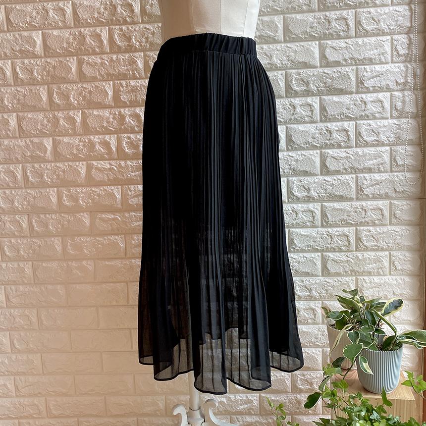 Hey Lin Pleated Chiffon Long Skirt 2colors