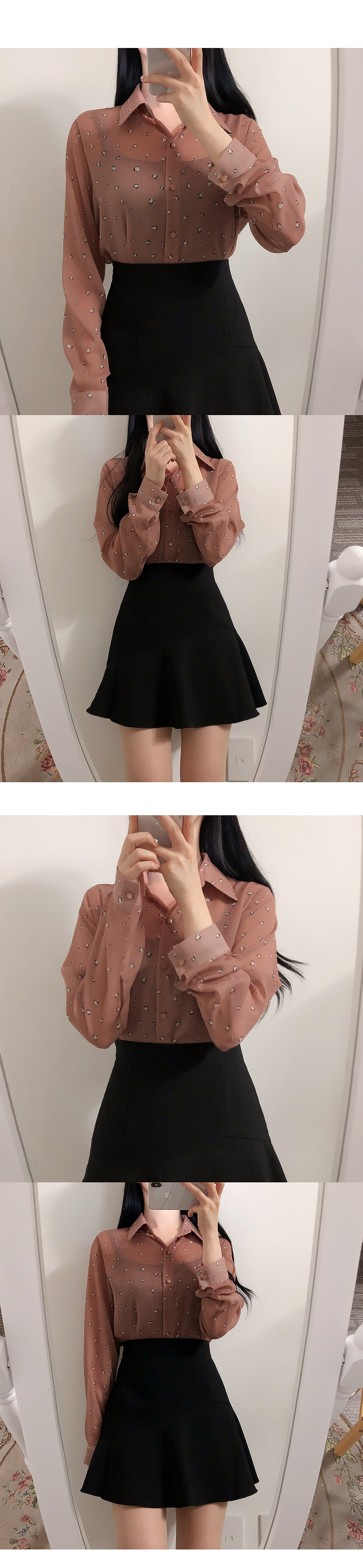 Self-produced, same day delivery ♥ Heart hop see-through color blouse