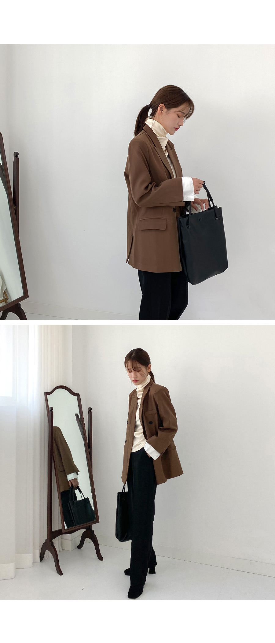 Easy strap button leather bag