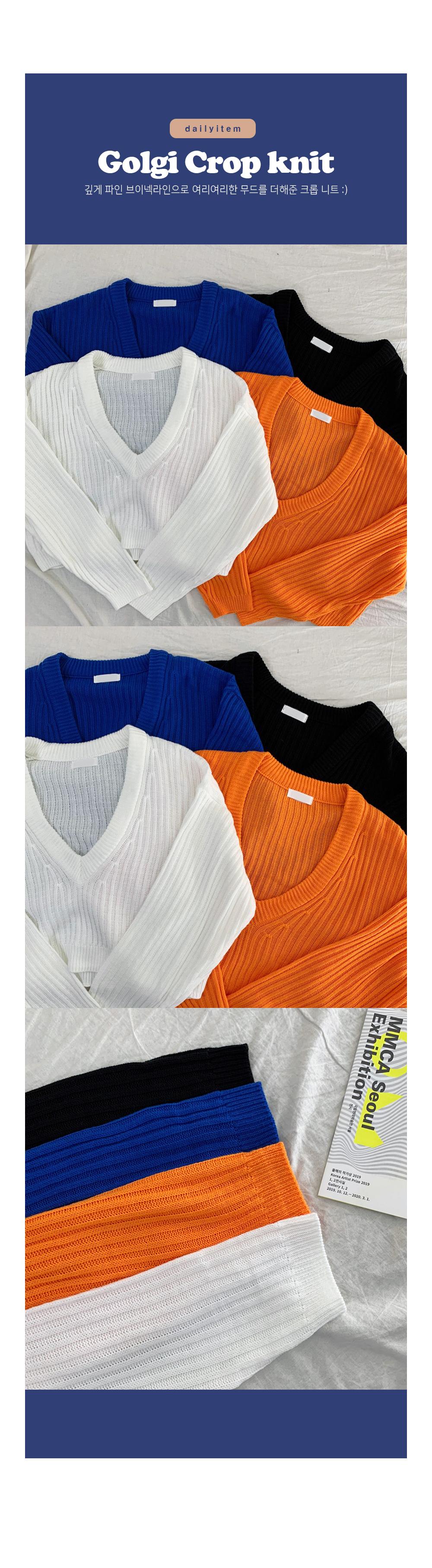 Hover Ribbed V Crop Knitwear