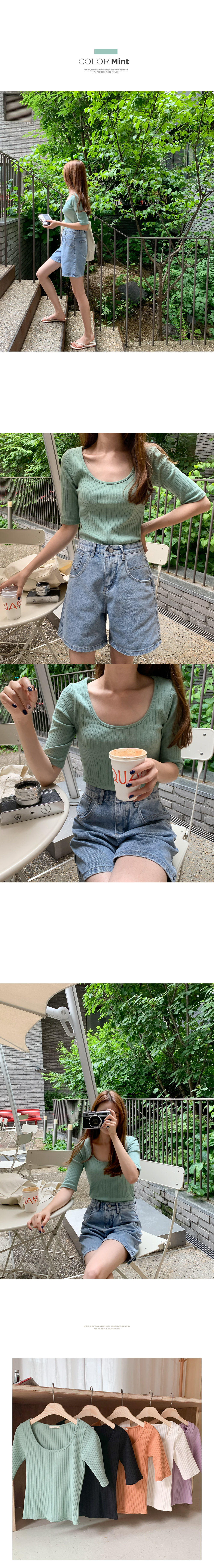 Lufen Ribbed Round Neck Short Sleeve T-Shirt