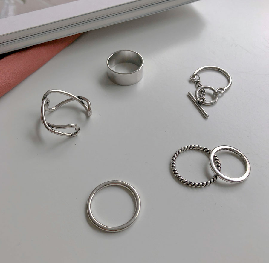 Shop kink simple 5 kinds layered ring