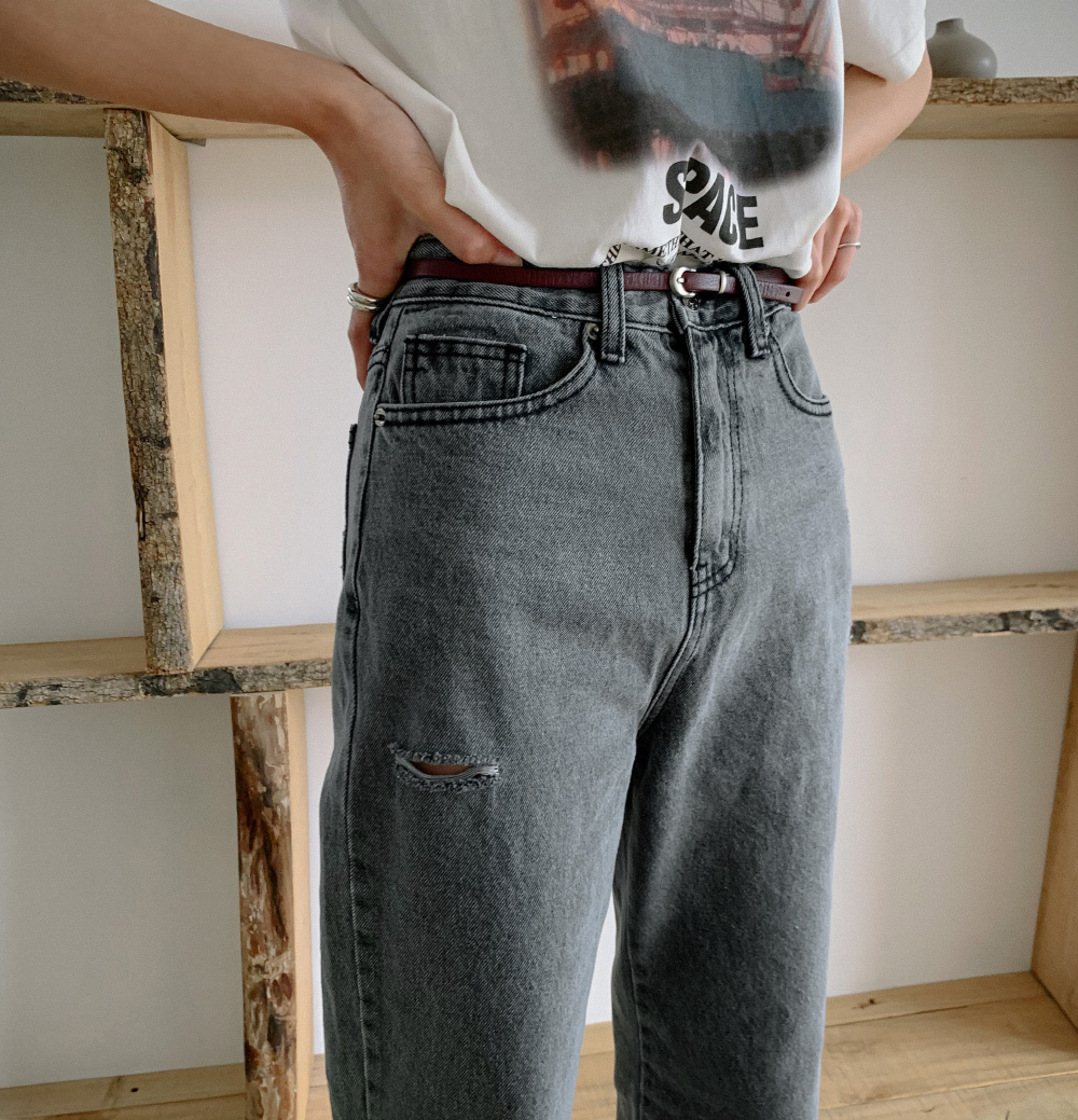 Vintage Damage Washing Slit Denim Pants