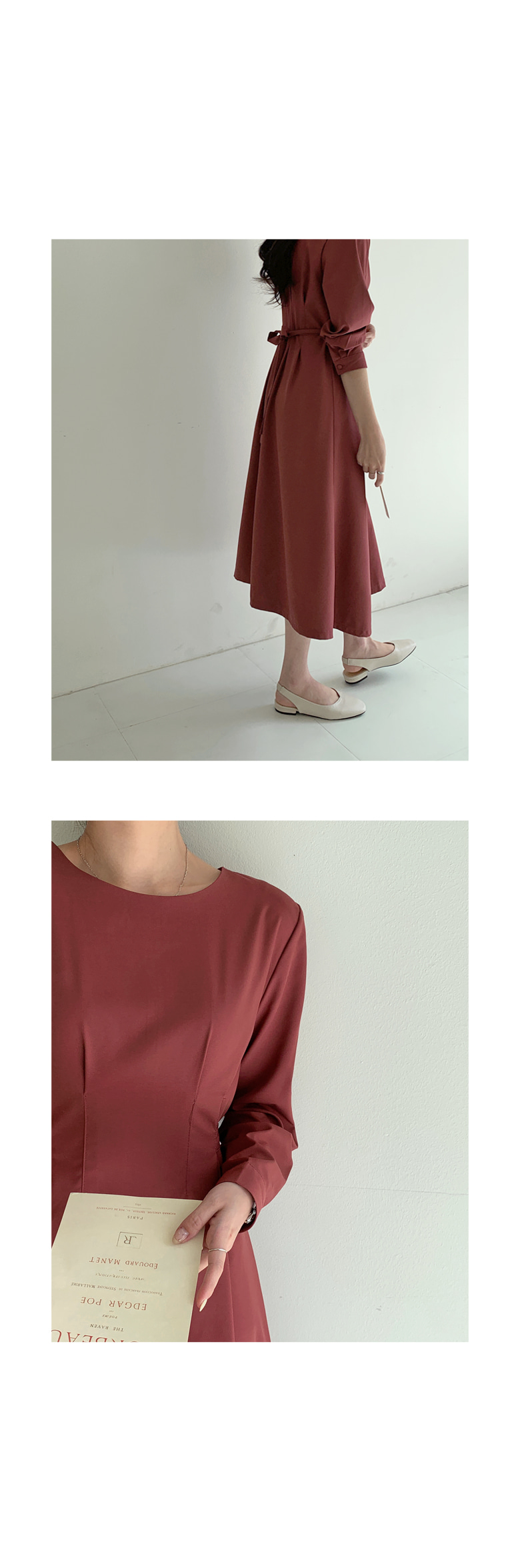 Peony Pin Tuck Strap Long Dress